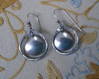 Sterling Silver Oxidized Hammered Silpada Disk Earrings W1426