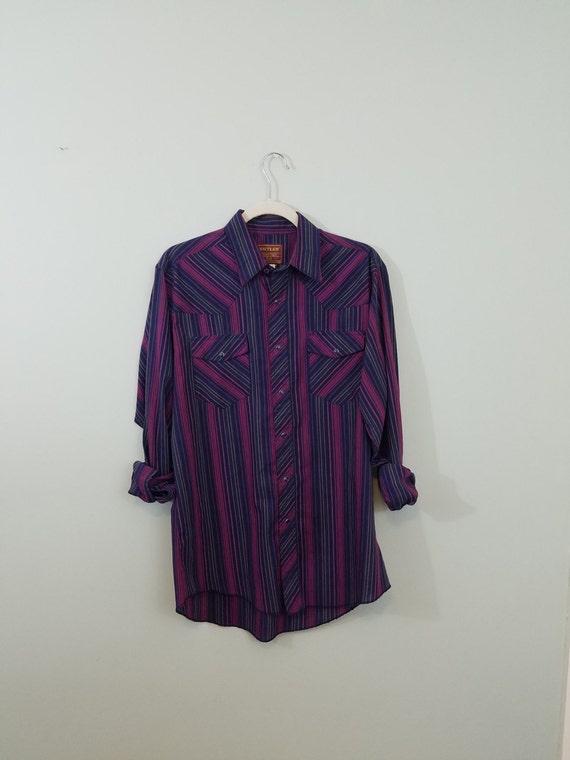 1970s Rustler Western Shirt / Jewel Tone Men's Snap Front Shirt / Navy Blue, Magenta Pink, and Emerald Green Stripes / Modern Size Large