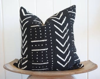 African Mudcloth Black White Pillow Cover Tribal Boho With 100% Belgian Linen Backing Exposed Gold Zipper