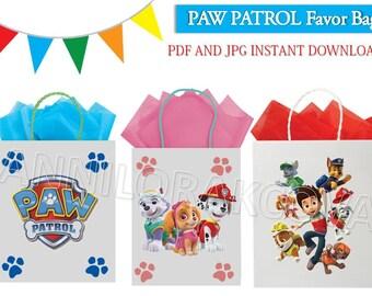 Paw Patrol Favor Bag/ Paw Patrol Printables/ Paw Patrol Favor Tags/ Instant Download/ You Print 60% OFF