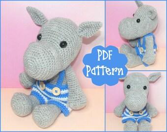 PDF - Hippo Crochet Pattern, Hippo Amigurumi, Amigurumi Pattern, Hippo Plush, Hippo Plushie, Hippo Toy, Crochet Hippo Toy, Hippopotamus,