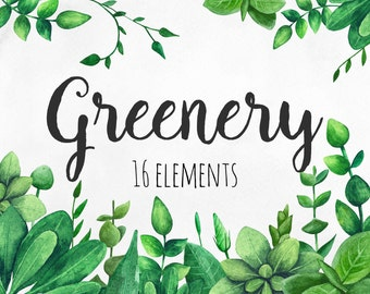 Greenery clip art Green watercolor Garden clipart Summer illustration png Botanical clip art set Nature leaves Hand painted Digital download