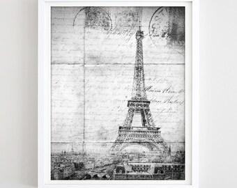 Cityscape Print Retro Eiffel Tower Photo Paris Travel Poster Printable Eiffel Print Black & White France Photo Travel Gift Digital Download