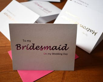 Bridal Party Thank You Cards, To My Bridesmaid Card, To My Maid of Honor Card, Gold Foil Card