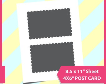 "Instant Download, 6x4"" Scalloped Postcard Template, PSD, PNG and SVG Formats,  8.5x11"" sheet,  Printable 150"