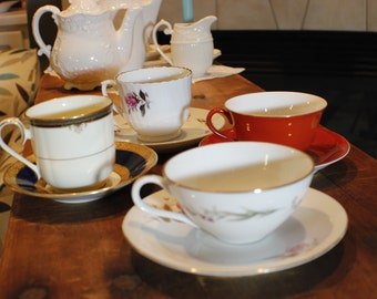 Tea Party Set of Coordinating Cups and Saucers -002