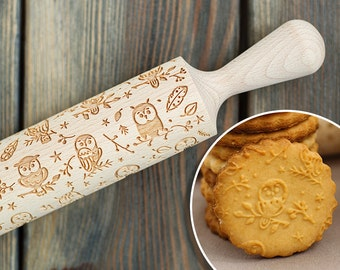 Owl Pattern Wooden Embossing Rolling Pin, Gift , Legend of the Guardians: The Owls of Ga'Hoole