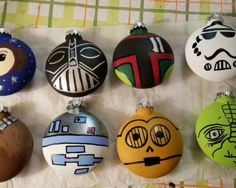 Star Wars Ornaments set of 8 hand painted and personalized