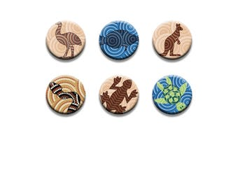 A pack of 6 Aboriginal dot art of mammal Pattern weights Ideal for weighing down patterns on delicate fabrics no need for pins TV sewing Bee