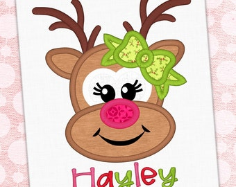 Reindeer Applique Embroidery Design Rudolph Girl Design Christmas Embroidery Reindeer Applique Embroidery Design Petunia Petals Designs 1227