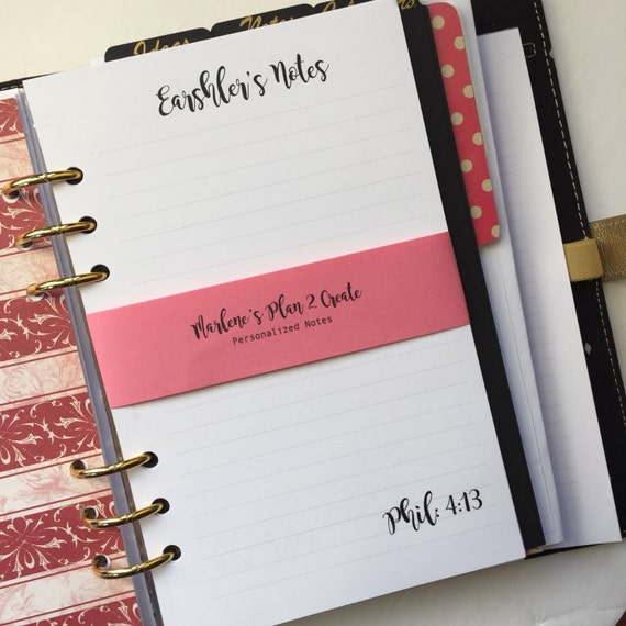 Personalized Notes Pages Planner Inserts   Half Letter Size for A5   Filofax & Kikki K