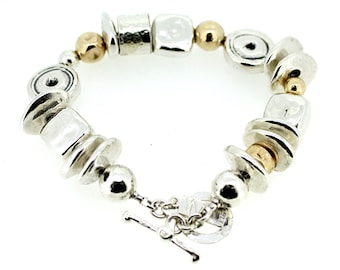 Ethnic Two Tone Bracelet / Silver and Gold Bracelet / Hammered Bracelet / T Bar Silver Bracelet /Chunky Silver Bracelet /Circles and Squares