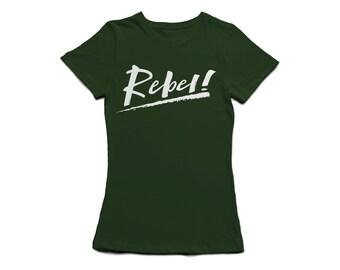 Rebel Attitude Womens Fitted T-Shirt - Khaki/Black/White Slogan Graphic Print