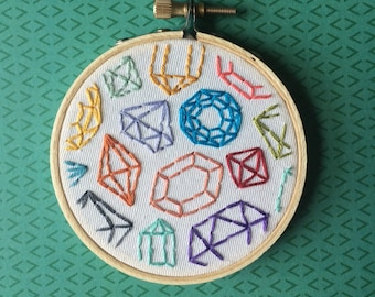 Embroidered Art, Gems and Jewels, Embroidered Hoop, MADE TO ORDER