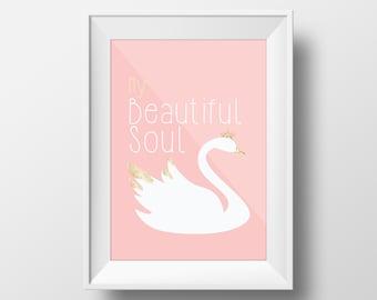 My beautiful soul swan pink -digitalprint-wallart-decor-nurserydecor-girlsroom-modern-goldandpink-art-vectorart-swan