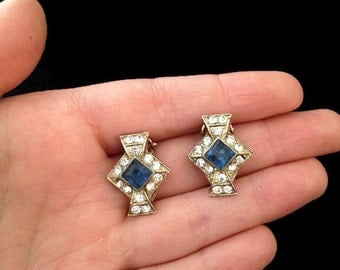 clip on vintage blue and clear rhinestone earrings