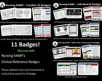 11 ID Badges Nursing Student Nurse Cardiac ECG EKG Clinical Medical Gift Nursing Kamp