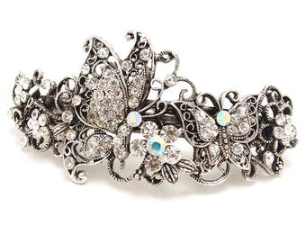 Butterfly Rhinestone metal Standard Size Hair Barrette hair clip in silver color