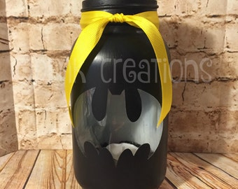 Batman Painted Mason Jar Tea Light Candle Holder, painted mason jar, mason jar, tea light, candle holder, lantern, batman, superhero, gift