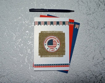4th of July Patriotic card set Independence Day card set Fourth of July 4th greeting card Stars card Red White and Blue America card