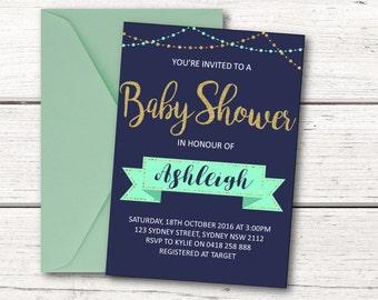 Baby Shower Invitation - Navy, Mint, Gold Glitter - Printable Invitation - DESIGN 108