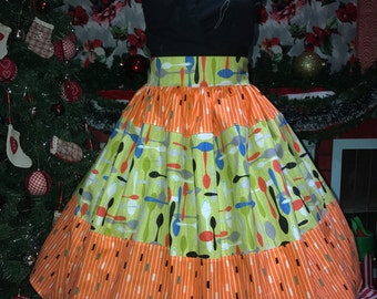 ON SALE 1950s atomic print & spoons style pinup skirt