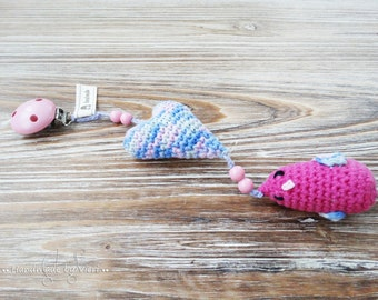 """Pram pendant """"Little bird"""" with/without name, pink, crocheted"""