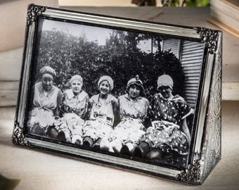 Vintage Glass Picture Frame 4x6 Horizontal Landscape  Family Picture Frame Gift for Wedding Anniversary Pic 360-46H