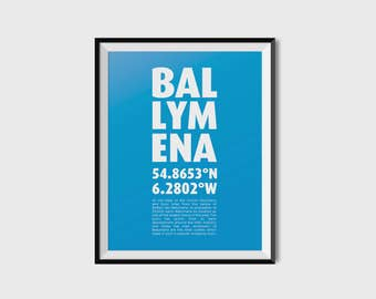 Ballymena Coordinates - Minimalist, typography, creative,