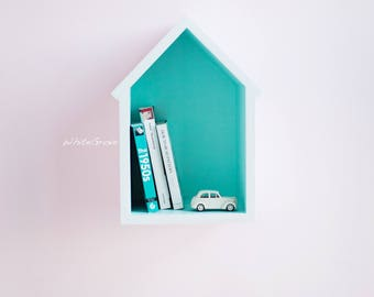 shelf,house shelf,shelf for books,nursery shelf, turquois shelf,white shelf,nursery decor,bookshelf,wooden shelf,shelf for kids room,nursery