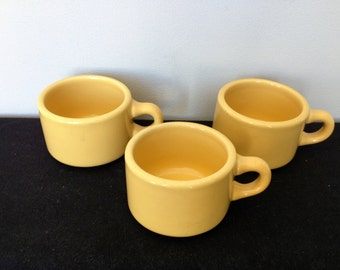 Set of 3 G. F. Coors Yellow Restaurantware Coffee Cups