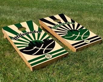 Milwaukee Basketball Cornhole Board Set with Bean Bags
