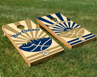 New Orleans Basketball Cornhole Board Set with Bean Bags