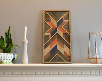 Wood wall art, brown/blue/natural/orange/navy/gray, burst, decor, panel, pine, cedar, lath 12in x 24in