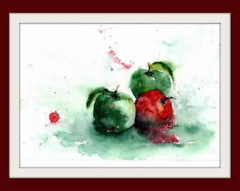Watercolor - unique - Still Life Apples - 20x30 cm