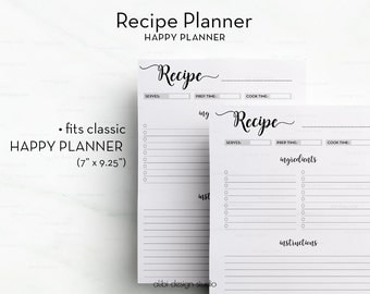 Recipe Planner, Happy Planner Printable, Recipe Book, Recipe Journal, Recipe Binder • Recipe Card, Recipes,  MAMBI, Printable Recipe