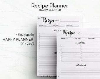 Recipe Planner, Happy Planner Printable, Recipe Book, Recipe Journal, Recipe Binder • Recipe Card, Recipes,  MAMBI, Printable Recipe
