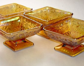 Vintage Lot of 4 Indiana Glass Company Carnival Glass Footed Diamond Shape Bowls , Iridescent Amber Footed Bowls