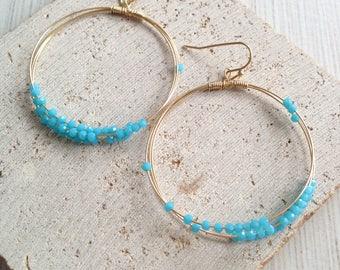 Circle Earring,Circle Dangle Earring,Turquoise Bead Earring,Circle Bead Dangle Earring,Boho Earring,Boho Dangle Earring,Bead Dangle Earring