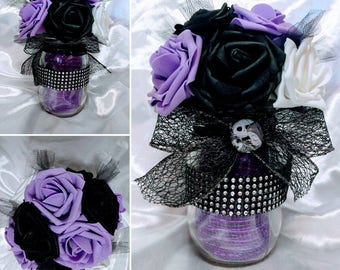Disney and Tim Burtons Nightmare Before Christmas inspired Mason Jar Centerpiece for Wedding, Sweet 16, or Quinceanera ~ Multiple colors