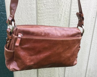 Giani Bernini Leather CrossBody Purse, Vintage Designer Hand Bag, Leather CrossBody Bag