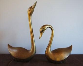 brass swan bookend etsy