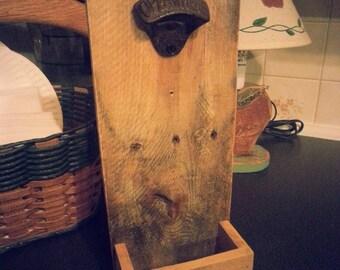 Wooden Bottle Opener with Cap Catcher