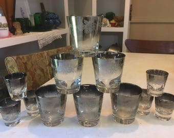 Silver Embossed Rocks and Shot Glasses