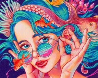 A kind of magic archival giclee print pop surrealism art colorful art sea world anemone pink shades