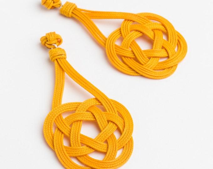 Ocean Plait Knot Earrings, Sz Lrg, Macrame earring, macrame, love knot earring, chinese knot, paracord earring, sailor's knot, nautical knot