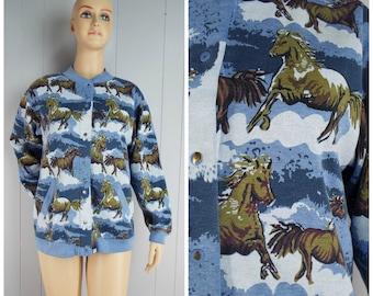 Vintage Womens 1990s Wild Horses Snap Front Sweatshirt Jacket / Cardigan | Size L (or oversized M, M/L)
