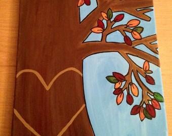 Custom Love Initial Tree Painting, wall decor