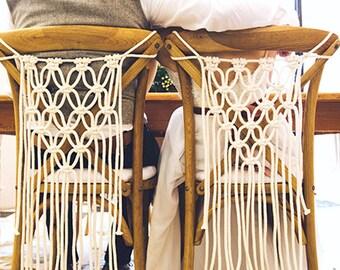 Set of 2 Macrame Chair Hanging - Modern Macrame - Boho Wedding Decor - Macrame Wedding Backdrop - Wedding Chair Covers - Wedding Backdrop
