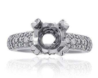 0.80 Carat Diamond Engagement Ring 14K White Gold Mount Setting